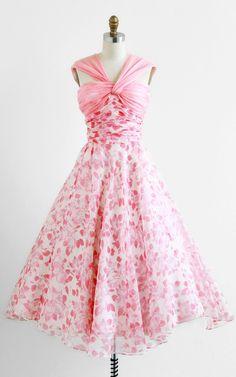 1950's Pink Floral Cupcake Dress