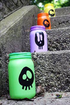 Colorful Skull Luminaries for Halloween