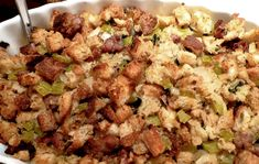 "I saw this years ago on the old HGTV show ""Tipical Mary Ellen"" and have been using this recipe since! (less the mushrooms) I'm soooo hungry for Thanksgiving dinner! Stuffing Recipes For Thanksgiving, Turkey Stuffing, Turkey Sausage, Holiday Recipes, Sausage Stuffing, Stuffing Seasoning, Christmas Recipes, Cranberry Stuffing, Slow Cooker Recipes"