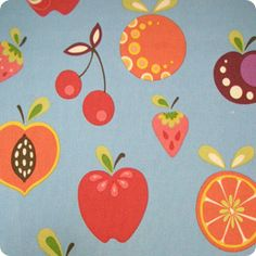 Want something perfect for a country kitchen? This mixed fruit upholstery fabric is great!