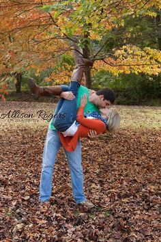Engagement photos #country #fall #leaves i would love to have a fall wedding one day and love this engagement photo idea.