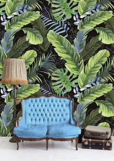Steel Buildings and the Advantages of Living Walls Green Leaf Wallpaper, Accent Wallpaper, Wall Wallpaper, Botanical Wallpaper, Diy Interior, Interior Design, 3d Wallpaper Design, Tropical Home Decor, Wall Decor Stickers