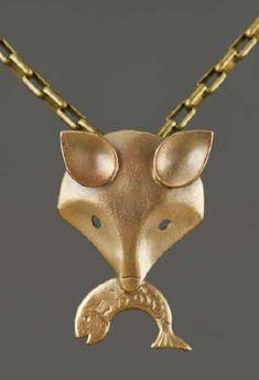 Bronze clay Mask pendant from Gordon Uyehara.