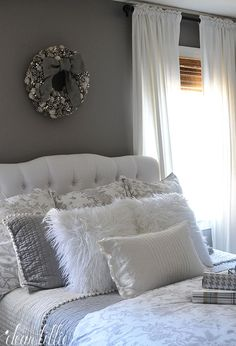 These Fluffy White Pillows From Homegoods Added Such A Fun And Cozy Touch To Our Grey Roomgray Bedroombedroom Decormaster