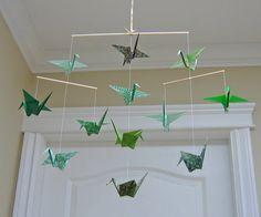 Green Origami Crane Mobile - Home Decor - Nursery Decor Gold Ribbons, Mobile Home, Decoration, Crane, Nursery Decor, Delicate, Decor Ideas, Prints, Diy