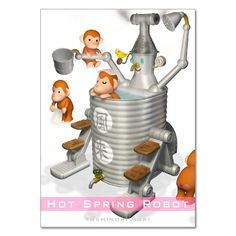 Hot spring robot 3DCG illustration work of Japanese robot illustrator Toshinori Mori.