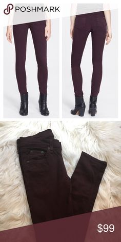 Rag & Bone Skinny Jeans These Rag & Bone skinny jeans in Wine color are a great everyday alternative to the average blue jean. Made of ultra soft stretch denim, these jeans hug the body comfortably for a flattering body contouring shape. Size 25, 3% spandex in great condition. rag & bone Jeans Skinny