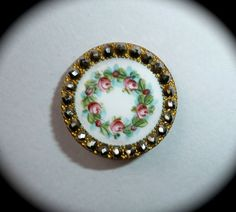 Victorian Enamel Button w/Cut Steel Border Vintage Buttons, Vintage Lace, Vintage Sewing, Crochet Pincushion, Hijab Pins, Victorian Life, Types Of Buttons, Crazy Patchwork, Button Button