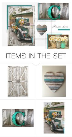 """Rustic Love"" by dahliadollsboutique on Polyvore featuring art, rustic, aqua and dahliadollsboutique"