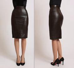 80s ALAIA leather corset pencil skirt Size XS by TapestryVintageLA, $475.00