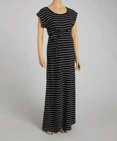 Love this Black & White Stripe Maternity Maxi Dress - Women by Oh! Mamma on #zulily! #zulilyfinds