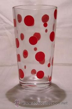 Vaso refresco de cristal con lunares rojos - ELSA. Mod. 201 | Años 60-70 | Vintage