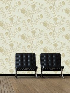 Buy Chinese Peony, a feature wallpaper from Sanderson, featured in the Richmond Hill collection from Fashion Wallpaper. Feature Wallpaper, Richmond Hill, Fashion Wallpaper, Barcelona Chair, Peonies, Chinese, Stripes, Couch, Traditional