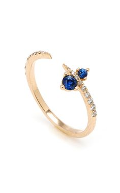 Shop Gold, Sapphire And Diamond Ring. Sophie Ratner's ring is expertly crafted in an apex design. Blue Sapphire Rings, Gold Diamond Rings, Diamond Bracelets, Diamond Choker, Apex Design, Feather Ring, Gold Feathers, Sea Glass Jewelry, Women Wear