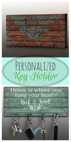 I love this key rack - it is adorable! Personalized Key Ring Holder, Family Key Holder, Home Key Rack, Couples Key Hanger, Housewarming Gift, Wall Mount Key Holder, Custom Key #afflink #personalized #farmhouse