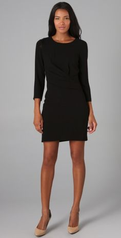 3 4 Sleeve Black Dress