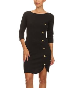 Love this J-Mode USA Los Angeles Black Button Sheath Dress by J-Mode USA Los Angeles on #zulily! #zulilyfinds
