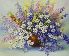 Схема вышивки «букет полевых цветов в вазе» - Вышивка крестом