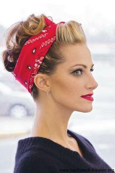 140 rockabilly hairstyles: inspired by the 140 Rockabilly Frisuren: von den inspiriert! super makeup and red hair band – rockabilly - Moda Rockabilly, Looks Rockabilly, Rockabilly Fashion, Rockabilly Makeup, 50s Makeup, Rockabilly Short Hair, Rockabilly Hair Tutorials, Bandana Hairstyles, Curled Hairstyles