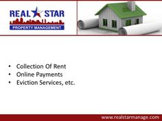 If you are looking for property management services in Harker Heights, TX, consider REAL Star Property Management, LLC. The property management services offered by the company include collection of rent, tenant screening, property inspection, property remodeling etc. To know more about the services offered in Harker Heights, visit : http://www.realstarmanage.com