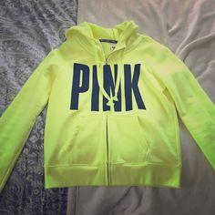 Neon yellow sweatshirt from Victoria's Secret Pink super bright and cute sweatshirt, never worn! PINK Victoria's Secret Tops Sweatshirts & Hoodies