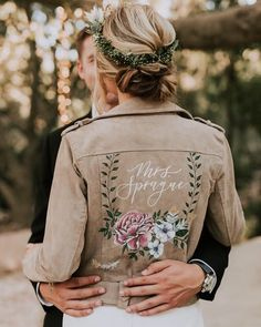 Painted Bridal Jacket by Bash Creative Design @bashcalligraphy