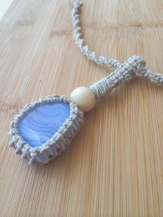 Blue Lace Agate Hemp Wrapped Calming Pendant  Throat Chakra Charm by TheSunLab, $17.00