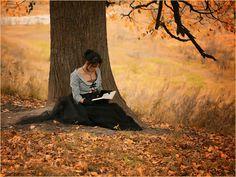 femme qui lit un livre au pied d'un arbre