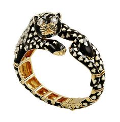 David Webb Gold, Diamond, and Black Enamel Bracelet