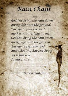 Book of Shadows:  #BOS Rain Chant page.                                                                                                                                                      More