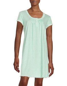 Miss Elaine Short Sleeve Nightgown Women's Turquoise/Ivory X-Large