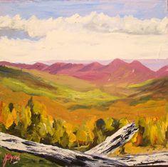 Appalachian Mountain Chain near Wytheville, Virginia from an overlook   6 x 6 Acrylic on masonite