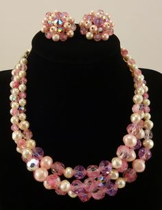 Laguna Pink Glass and  Pearls with matching clip on earrings.