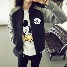 EXO Hoodie Cotton Stitching Sweatshirt Women Kpop Harajuku Sudaderas Mujer SUHO ChanBaek KAI Baseball Jacket EXO Hoodie