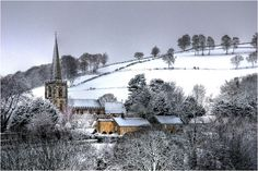 https://flic.kr/p/7Znoju | Dusting of Snow | View from our bedroom window. The local church in the village of Hathersage in the Derbyshire Peak District.