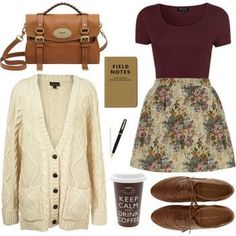 Maroon and cream floral dress with a cream knit cardigan, brown purse and shoes.  ADD TIGHTS!!!!