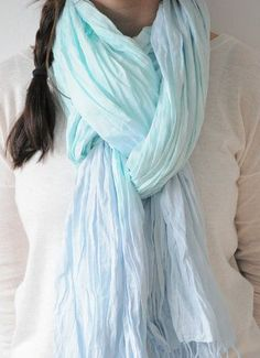Mint and Blue Cotton Crinkle Scarf tie dye Pastel Shawl