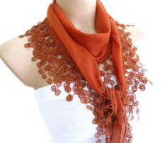 Necklace scarves Traditional Turkish-style by likeknitting on Etsy Handmade Gifts For Her, Unique Gifts, Lace Scarf, Scarf Wrap, Turkish Fashion, Turkish Style, Valentine Day Gifts, Scarves, Fashion Accessories