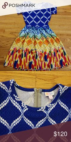 Lularoe MAJOR UNICORN Amelia Small Never worn, no tags, purging my Lula closet... bought this beauty way over retail 😍🦄 LuLaRoe Dresses Midi