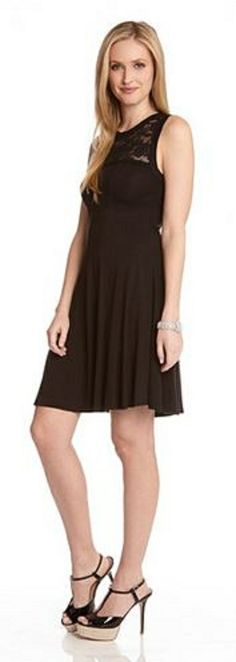 BLACK LACE YOKE DRESS LBD With its fit and flare silhouette, this LBD is a perfect choice for a flirtatious evening look. #LBD #Black_Lace #Karen_Kane #Fashion