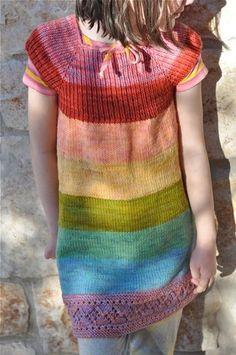 knitted rainbow dress for little girl