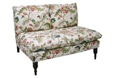 "Bacall 49"" Armless Settee, White/Blush"