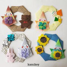 """春夏秋冬のこびとさん^ ^ ✳︎ それぞれのパーツの作り方動画は、YouTubeの""""kamikey origami""""でご覧ください(プロフィールにリンクがあります) ✳︎ Wreath designed by me Tutorial on YouTube """"kamikey origami """" #origami #折り紙 #kamikey"""