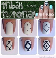 Black and white tribal nail art tutorial idea