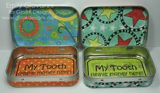 """Tooth Fairy tins... from empty mint tins! Maybe say """"Thank you!"""" instead of """"Leave money here!"""" :)"""