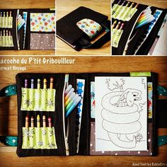 DIY The Bag of the Little Scribbler, travel format and its tutorial (Rekincitron com Sewing Crafts, Sewing Projects, Artist Bag, Sewing Online, Diy Crayons, Patchwork Bags, Travel Size Products, Diy For Kids, Binder Dividers