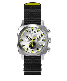 VERSUS Versus:Riverdale Silver Dial Black Canvas Strap Watch'. #versus #fashion watches