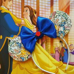Limited edition stained glass beauty and the beast Minnie mouse ears