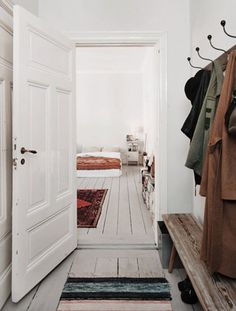 Mudroom. Simple bench and hooks