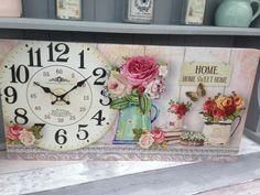 Reloj de Pared Shabby Vintage Estilo Elegante Francés Caja de impresión Home Sweet Home & Rosas. | eBay